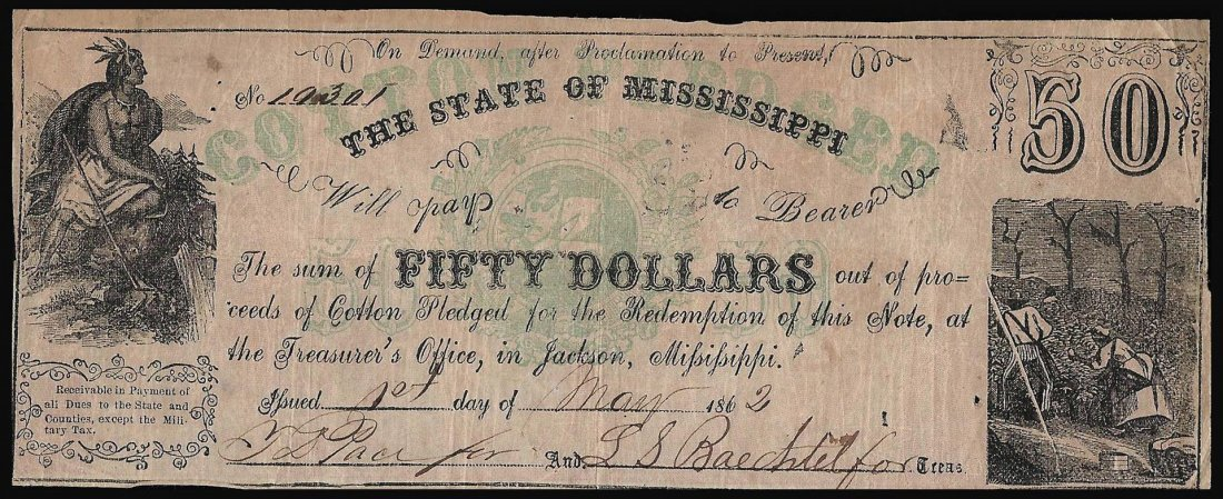 1862 $50 The State of Mississippi Obsolete Note