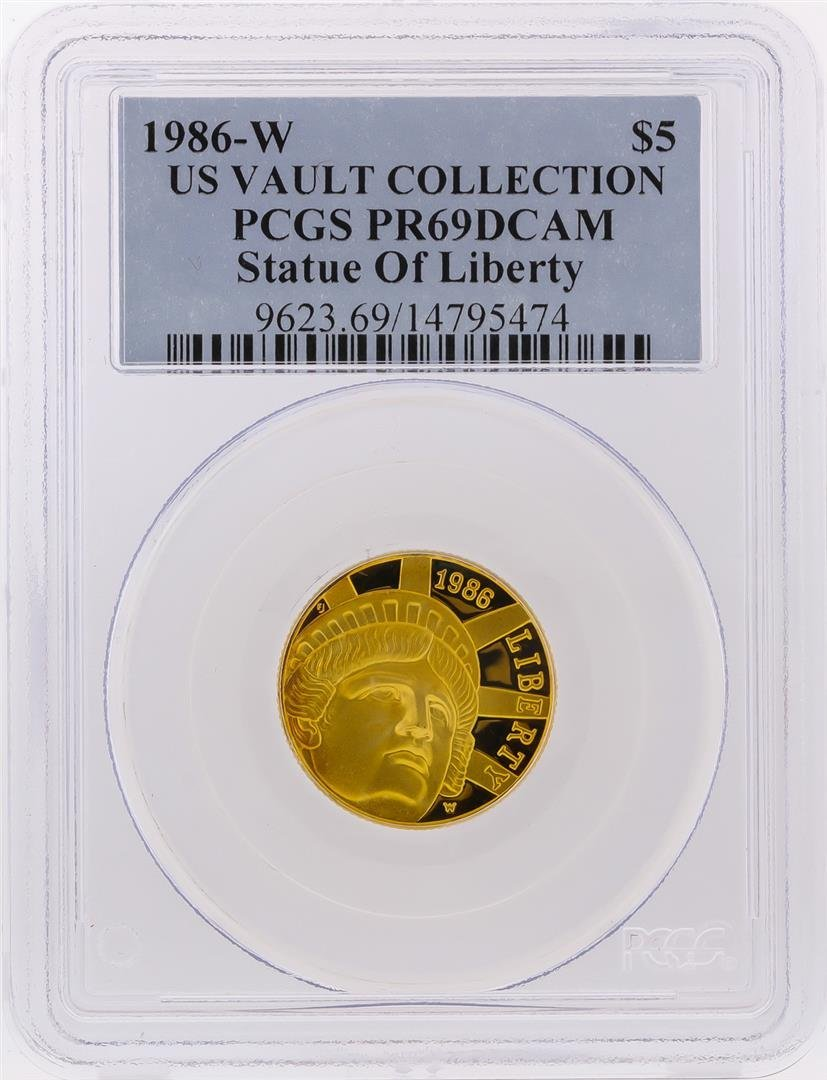 1986-W $5 US Vault Collection Statue of Liberty Gold