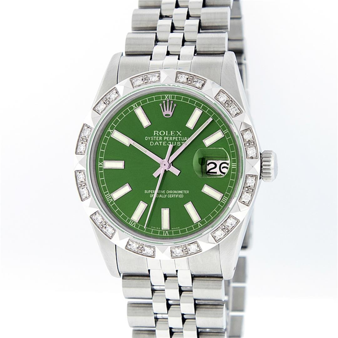Rolex Mens Stainless Steel Green Index Pyramid Diamond