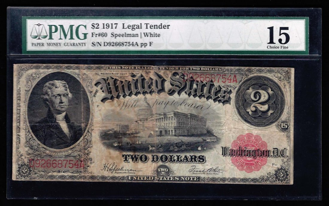 1917 $2 Large Size Legal Tender Note PMG Graded Choice