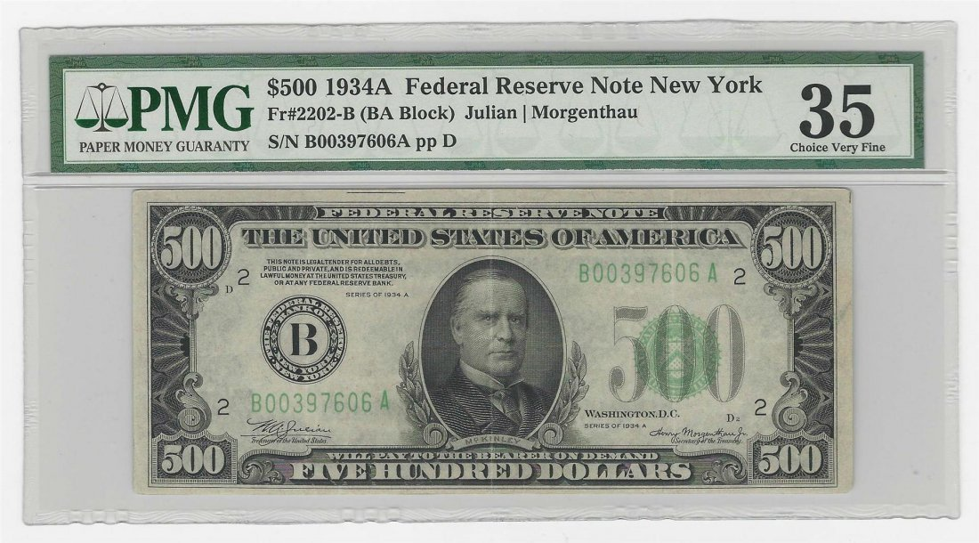 1934A $500 Federal Reserve Note New York PMG Choice