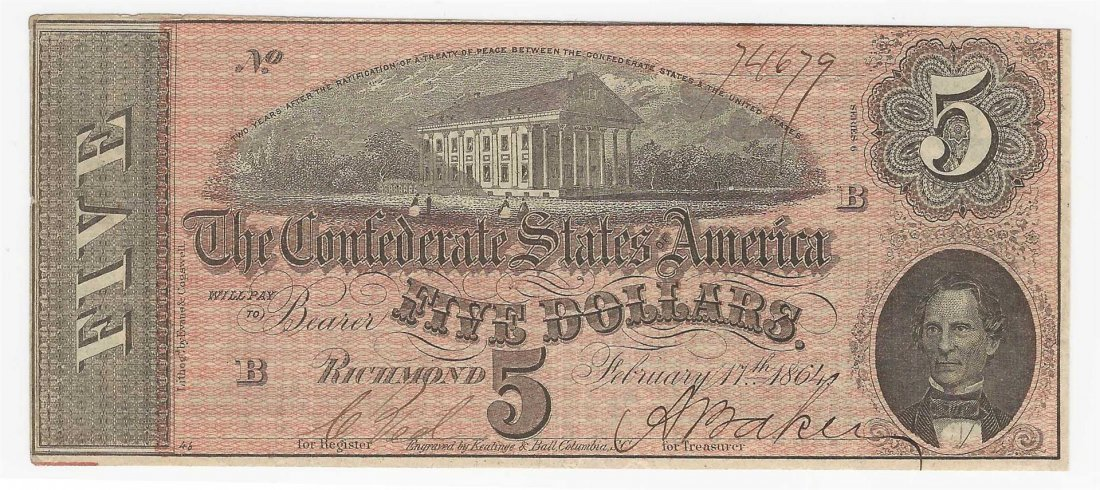 1864 $5 The Confederate States of America Note Reverse