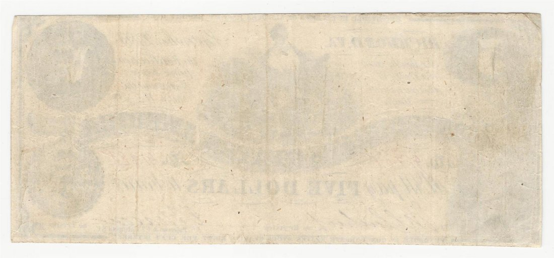 1864 $5 The Confederate States of America Note Reverse - 2