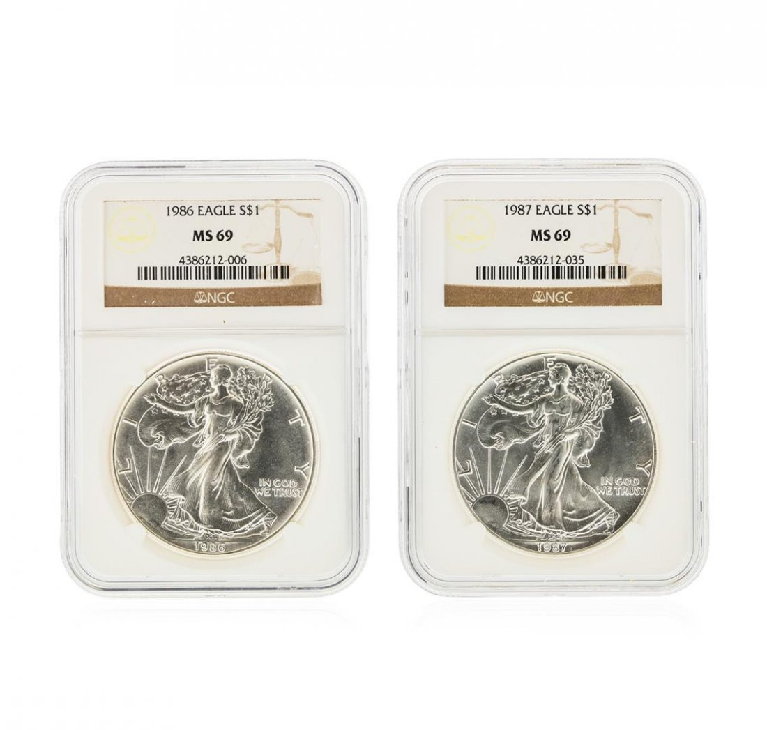 Set of (2) 1986-1987 $1 Silver Eagle Coins NGC Graded