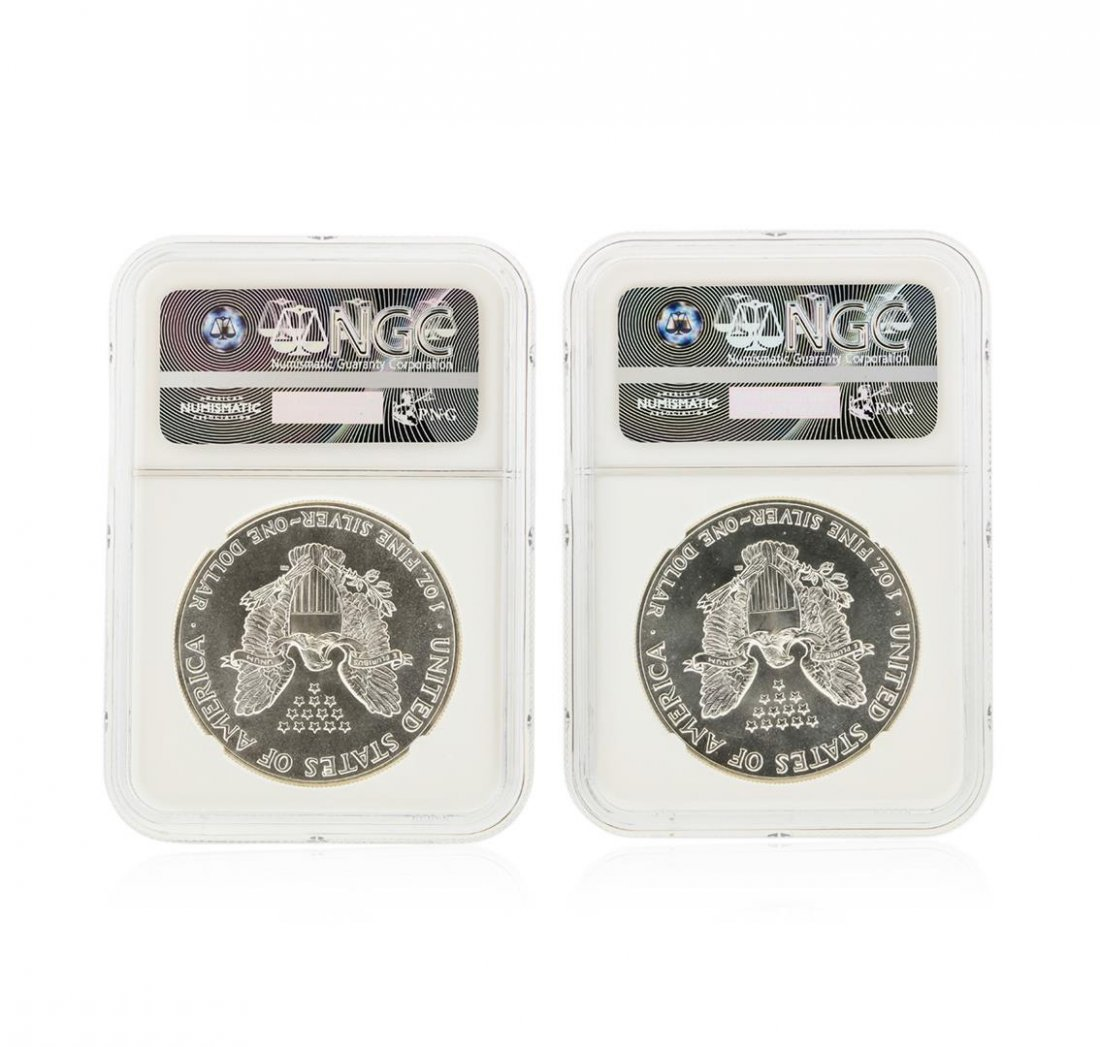 Set of (2) 1986-1987 $1 Silver Eagle Coins NGC Graded - 2
