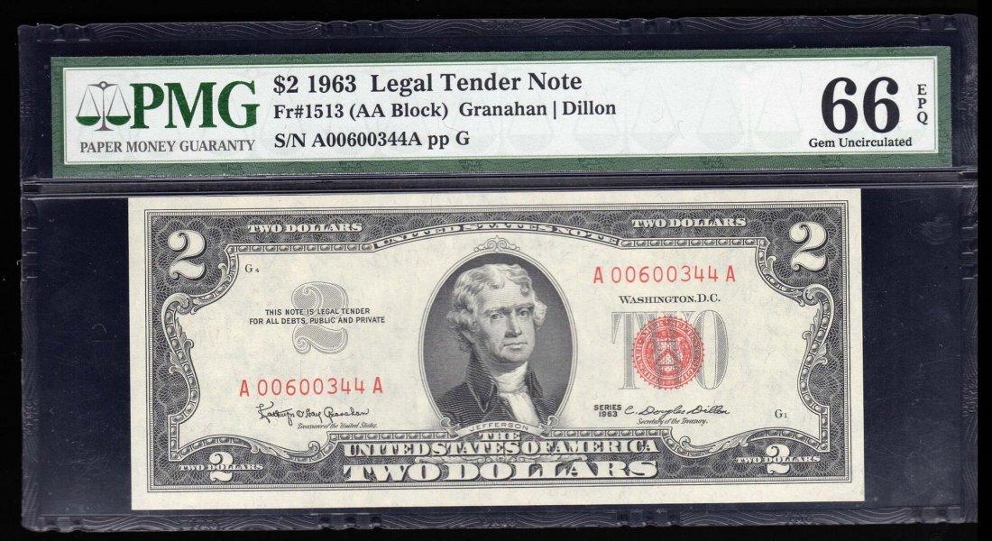 1963 $2 Legal Tender Note PMG Graded 66EPQ Gem