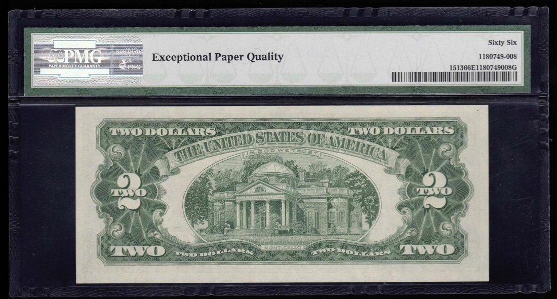 1963 $2 Legal Tender Note PMG Graded 66EPQ Gem - 2