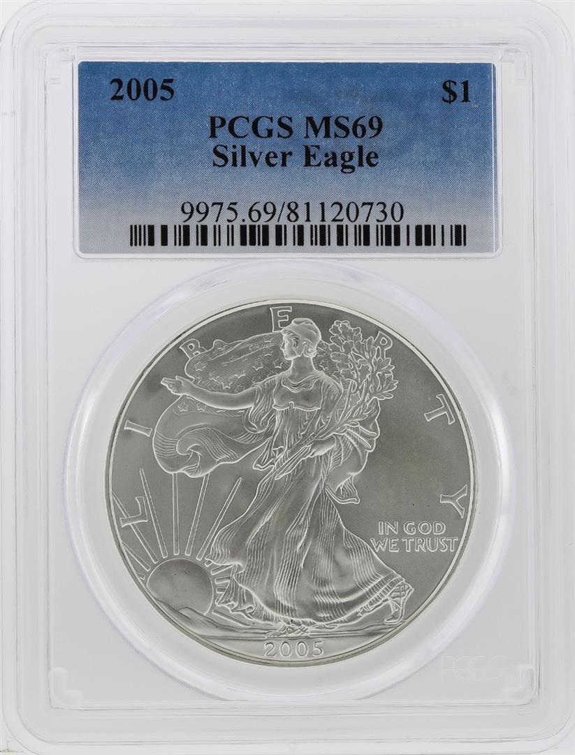 2005 $1 American Silver Eagle Coin PCGS Graded MS69