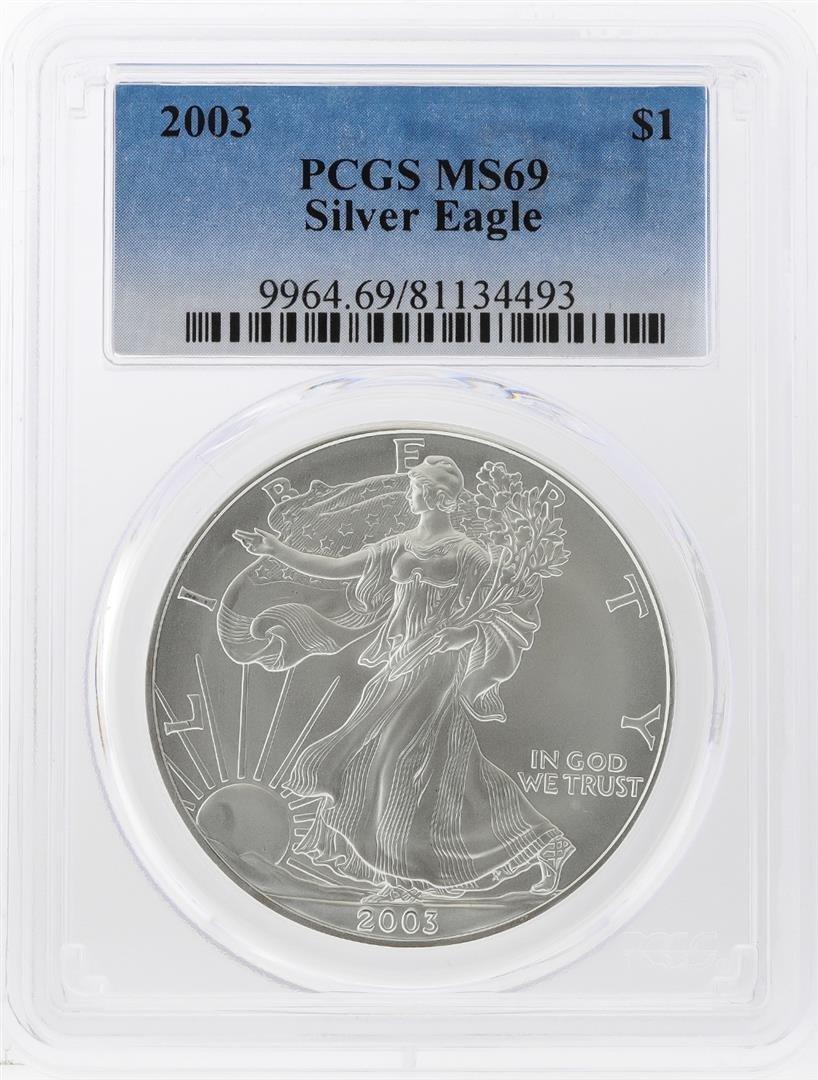 2003 $1 American Silver Eagle Coin PCGS Graded MS69