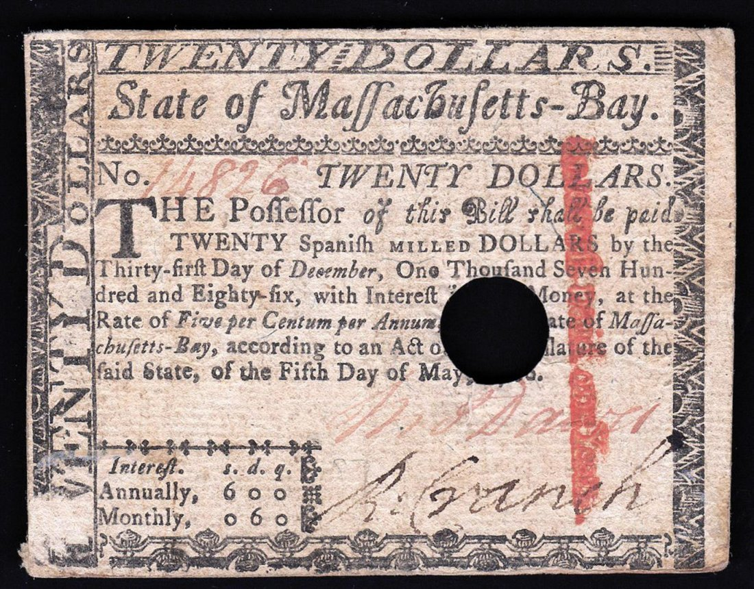 1780 $20 Massachusetts Bay Colonial Note