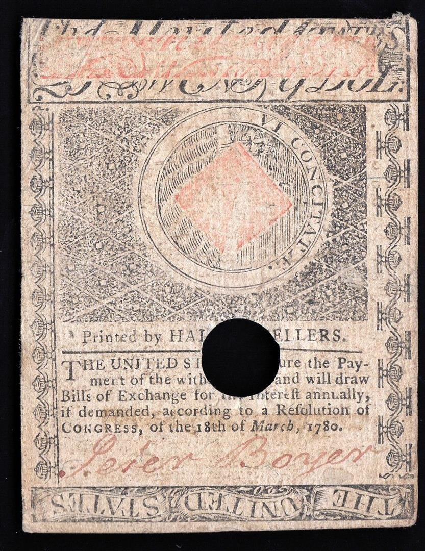 1780 $20 Massachusetts Bay Colonial Note - 2