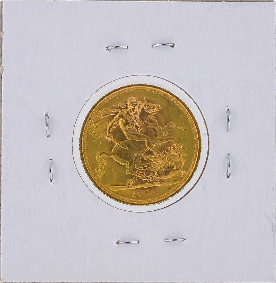 1963 Great Britain Sovereign Gold Coin - 2