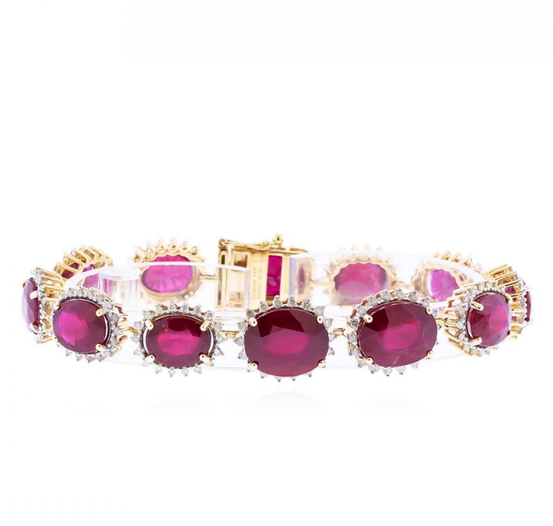 14KT Yellow Gold 48.97ctw Ruby and Diamond Bracelet