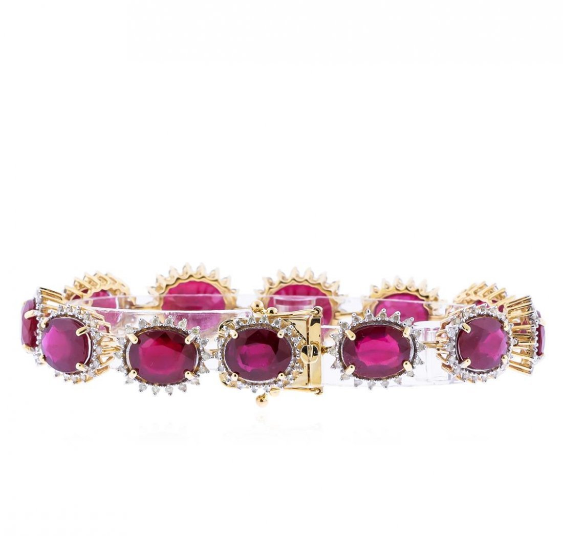 14KT Yellow Gold 48.97ctw Ruby and Diamond Bracelet - 2