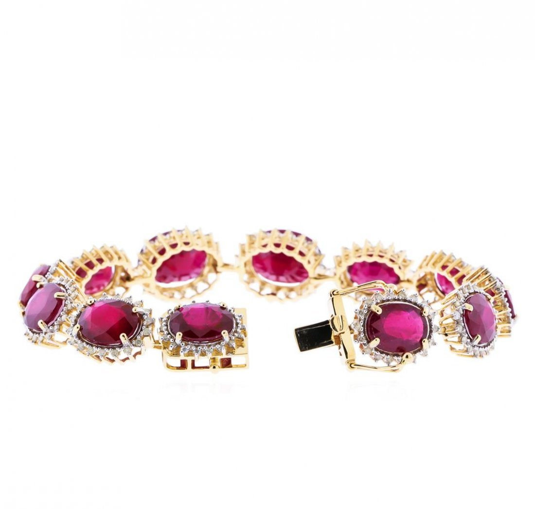 14KT Yellow Gold 48.97ctw Ruby and Diamond Bracelet - 3