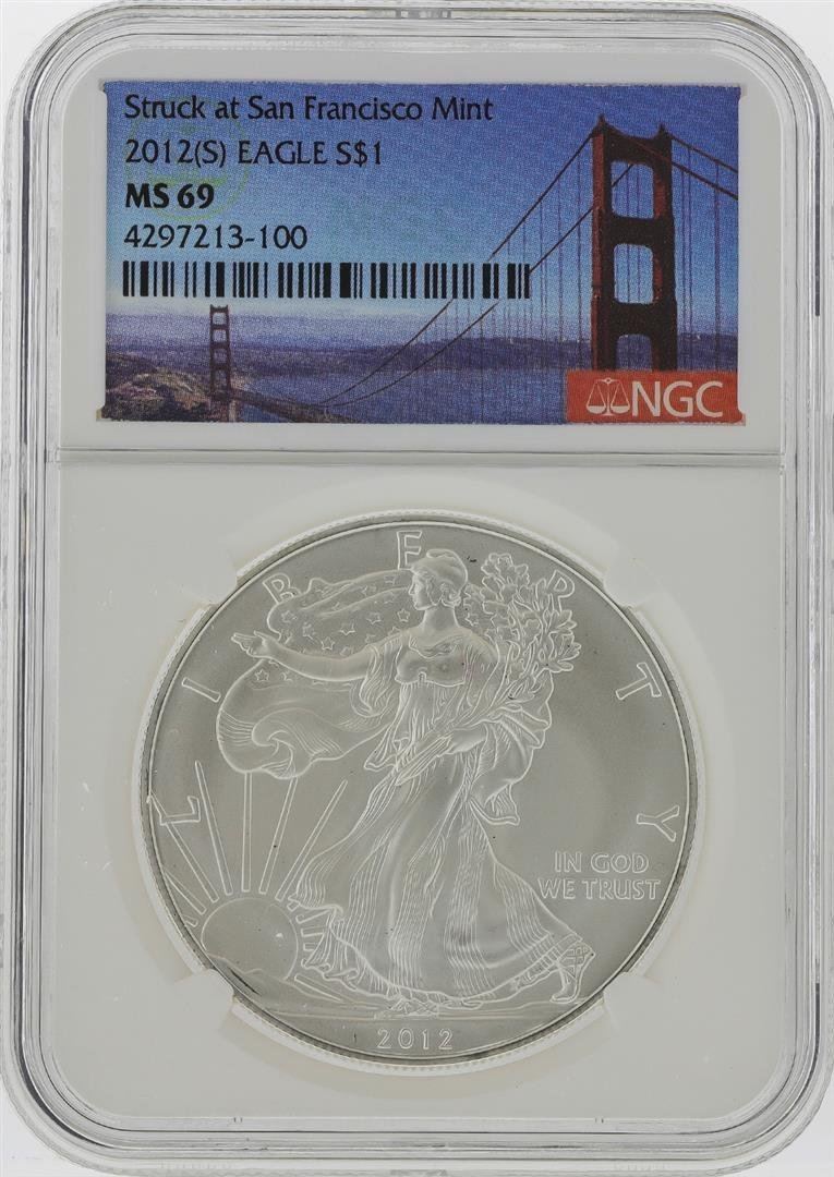 2012-S $1 American Silver Eagle Coin NGC Graded MS69