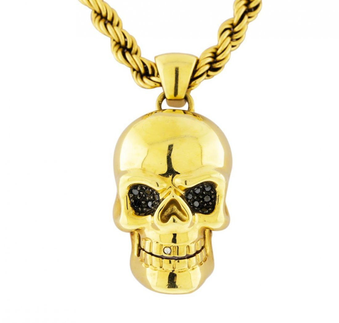 14K Yellow Gold Necklace with Diamond Skull Pendant