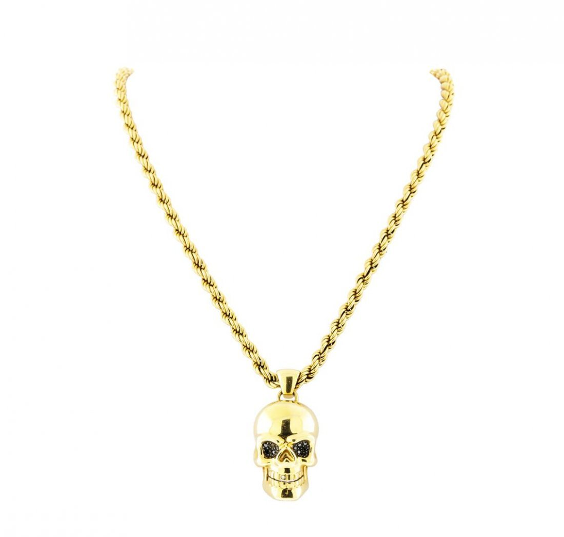 14K Yellow Gold Necklace with Diamond Skull Pendant - 2
