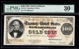 1922 $100 Gold Certificate Note PMG VF30EPQ