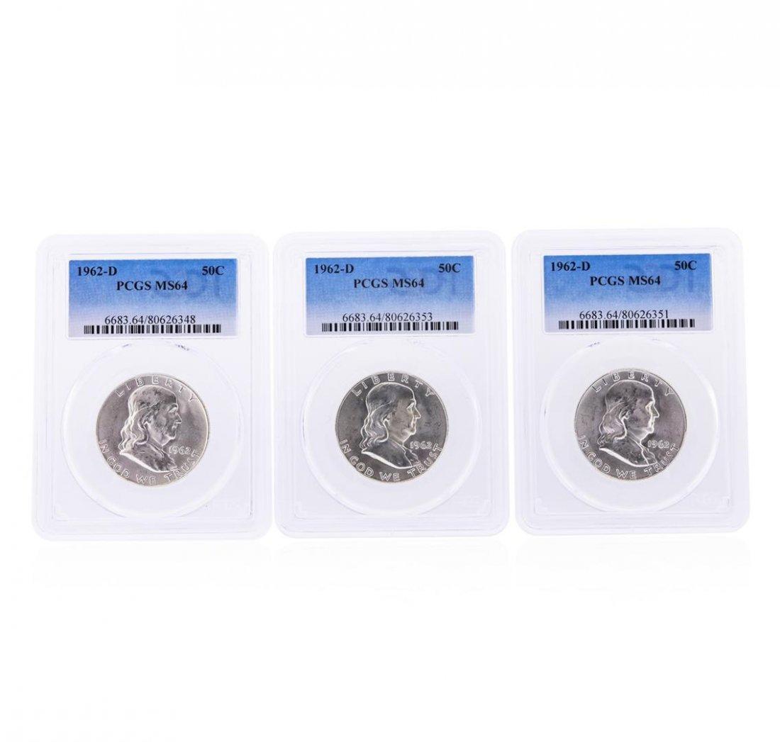 Set of (3) 1962-D Franklin Half Dollar Coins PCGS MS64