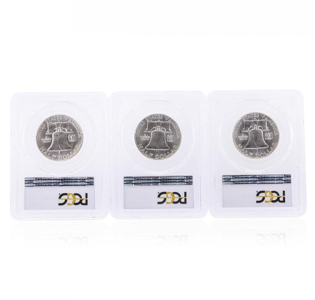 Set of (3) 1962-D Franklin Half Dollar Coins PCGS MS64 - 2