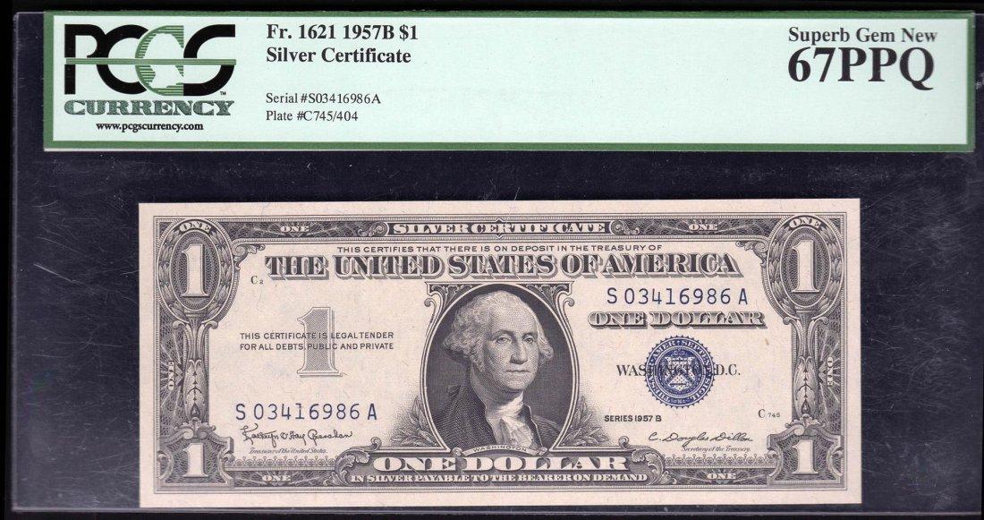 1957B $1 Silver Certificate Note PCGS 67PPQ Superb Gem