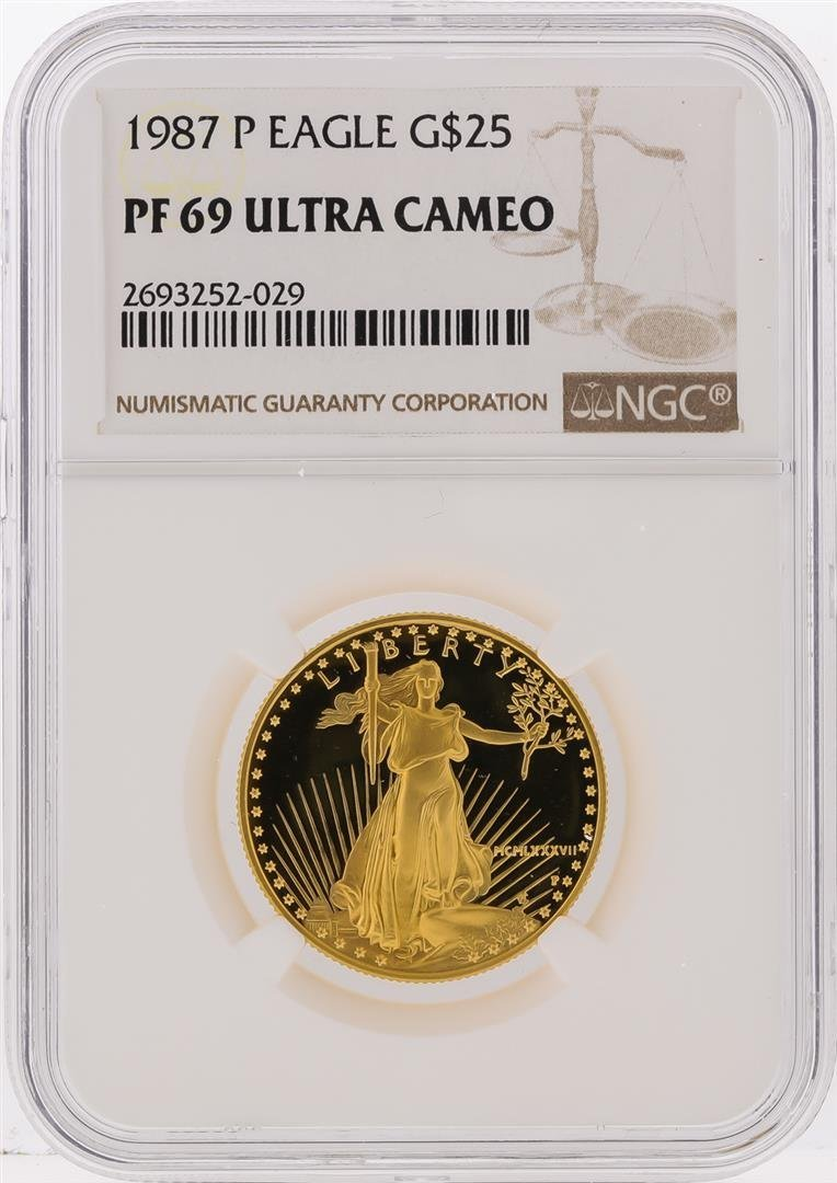 1987-P $25 American Gold Eagle Coin NGC Graded PF69