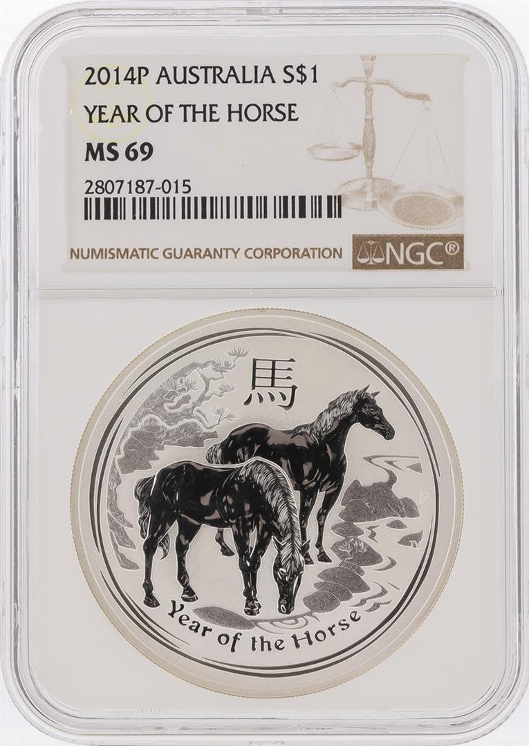 2014-P $1 Australia Year of the Horse Silver Coin NGC