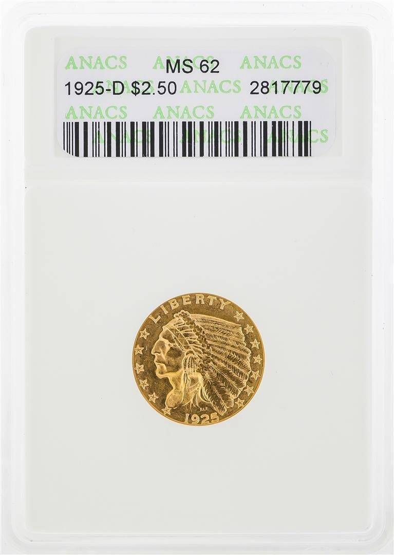 1925 $2 1/2 Indian Head Quarter Eagle Gold Coin ANACS
