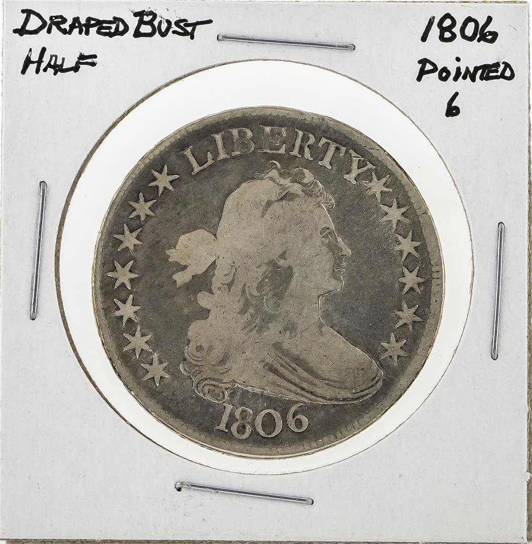 1806 Pointed 6 Draped Bust Half Dollar Silver Coin