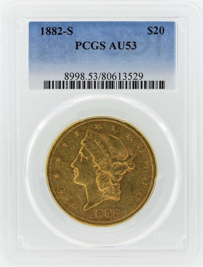 1882-S $20 Liberty Head Double Eagle Gold Coin PCGS