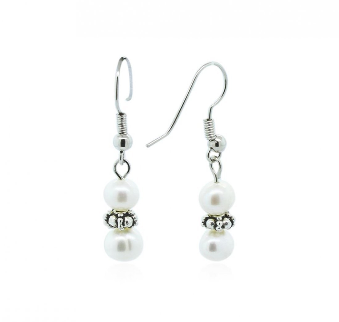 Cultured White Pearl Necklace, Bracelet and Earring Set - 4