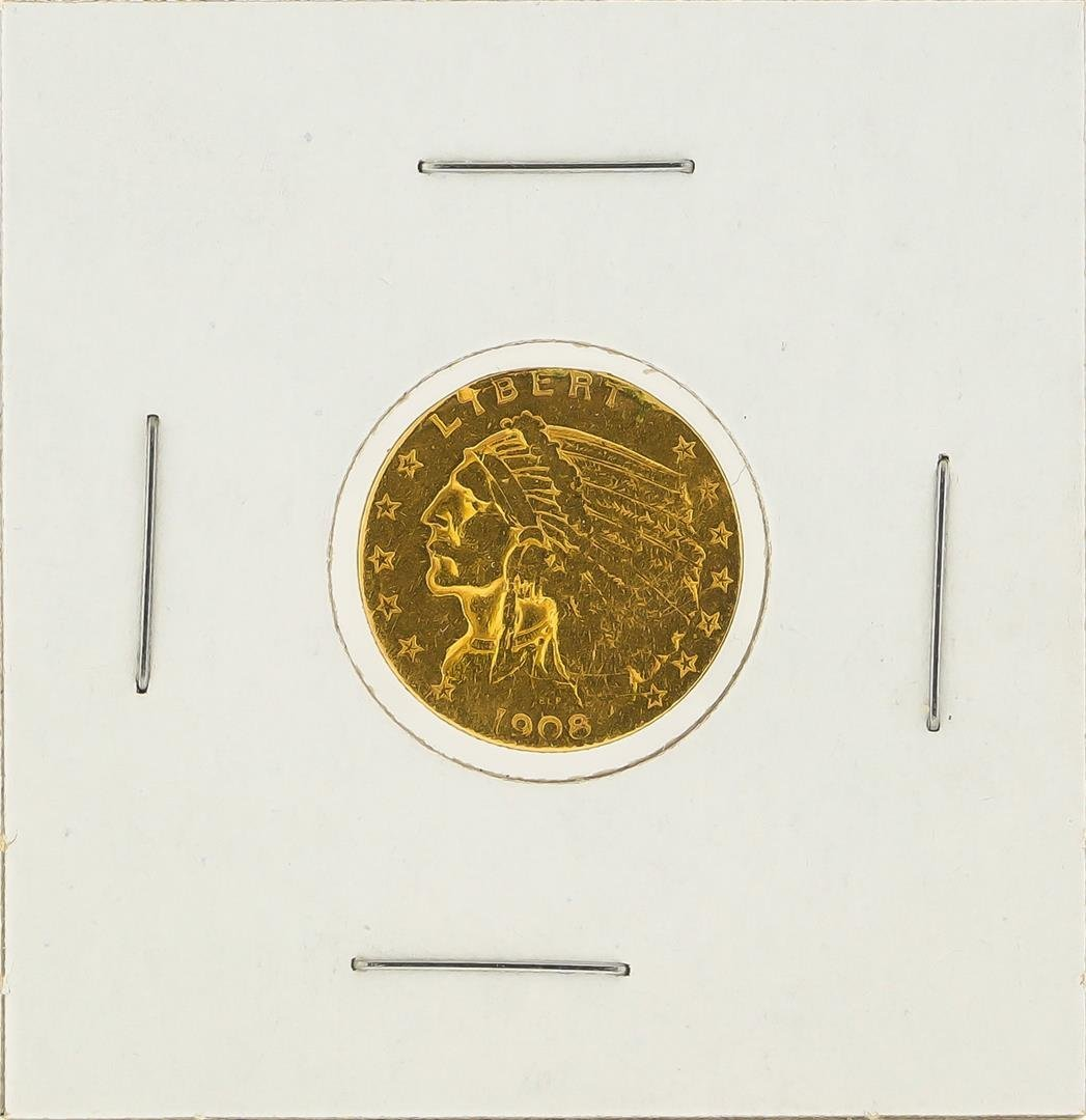1908 $2 1/2 Indian Head Quarter Eagle Gold Coin