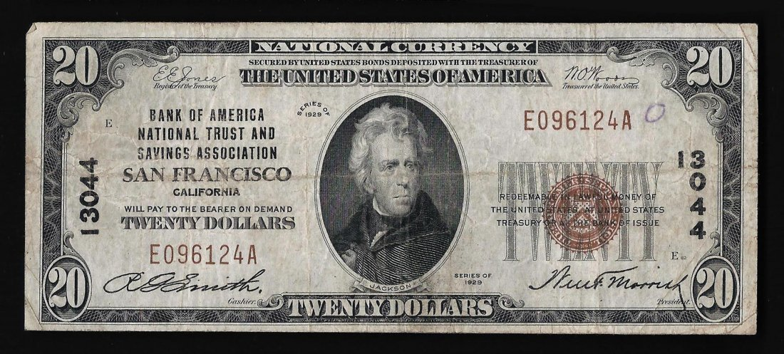 1929 $20 Bank of America San Francisco, CA National