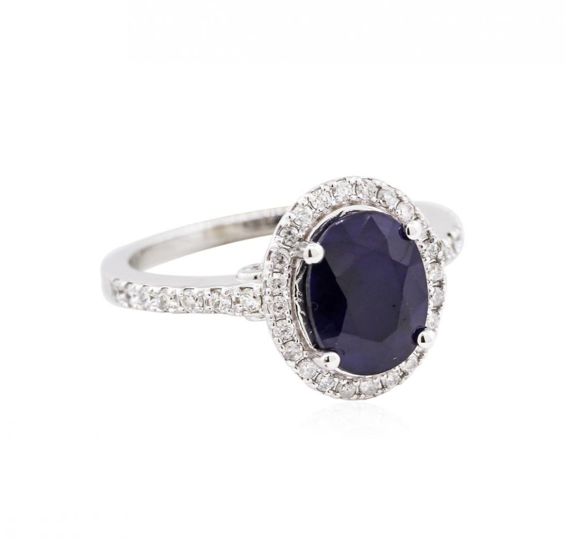 14KT White Gold 2.62ct Blue Sapphire and Diamond Ring