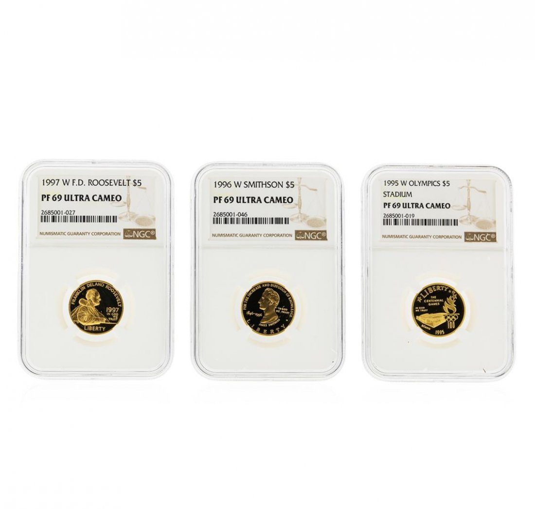1995-1997 $5 Commemorative Gold Coin Set NGC Graded