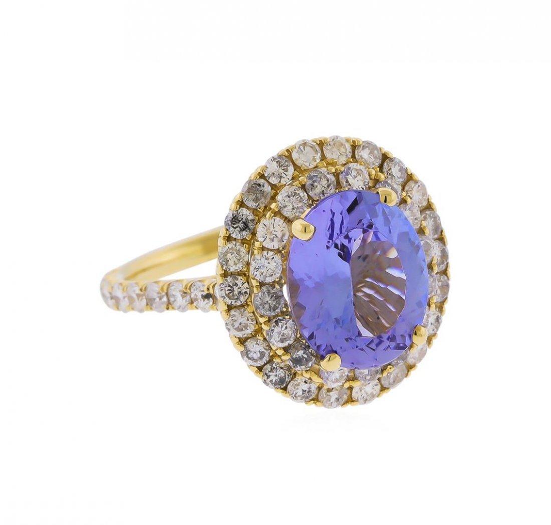 14KT Yellow Gold 3.63ct Tanzanite and Diamond Ring