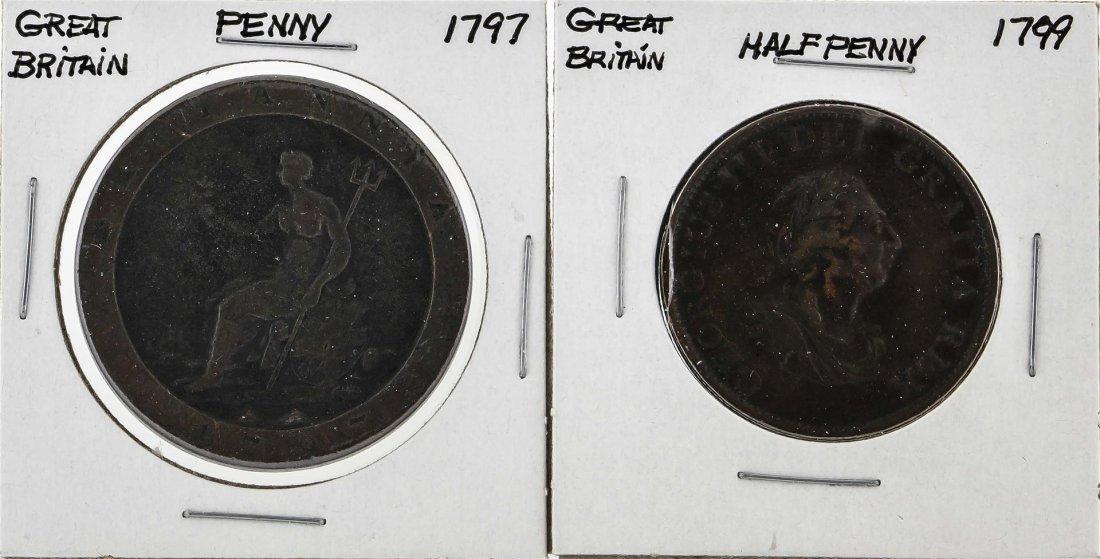 Great Britain 1799 Half-Penny & 1797 Penny Coins