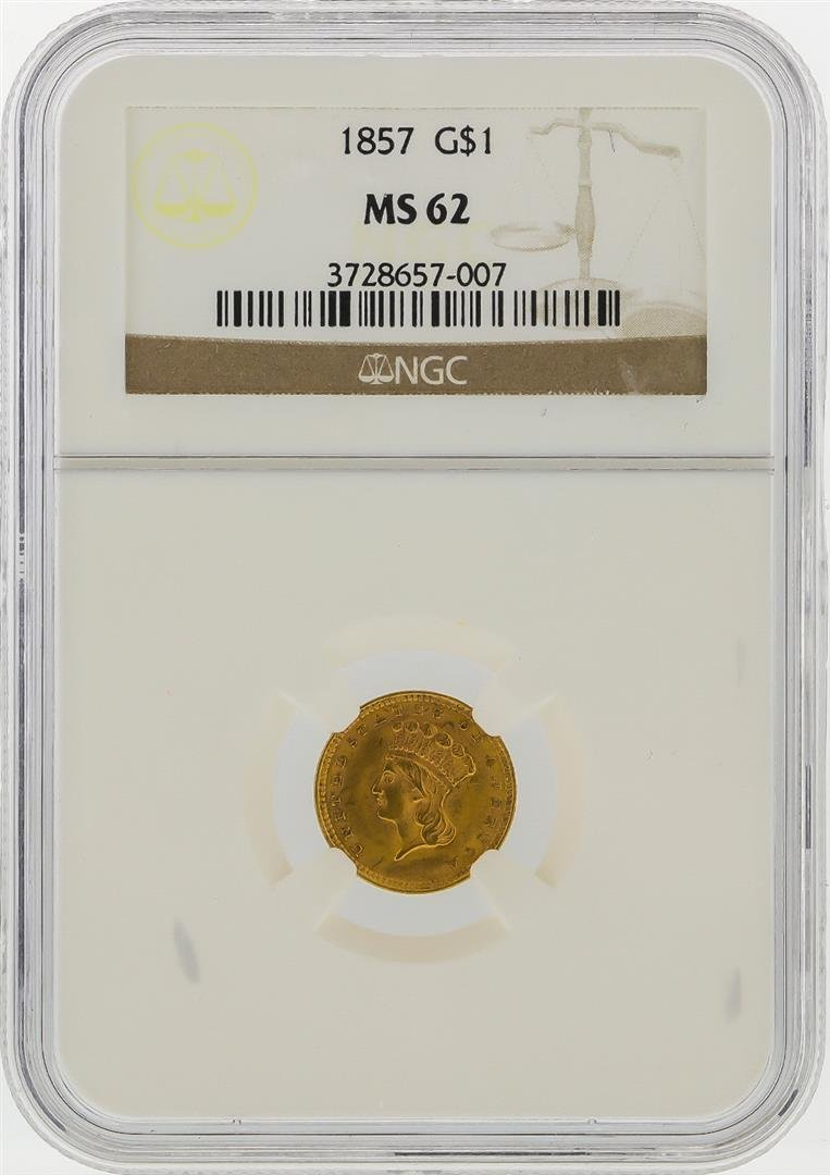 1857 $1 Indian Princess Head Gold Coin NGC Graded MS62