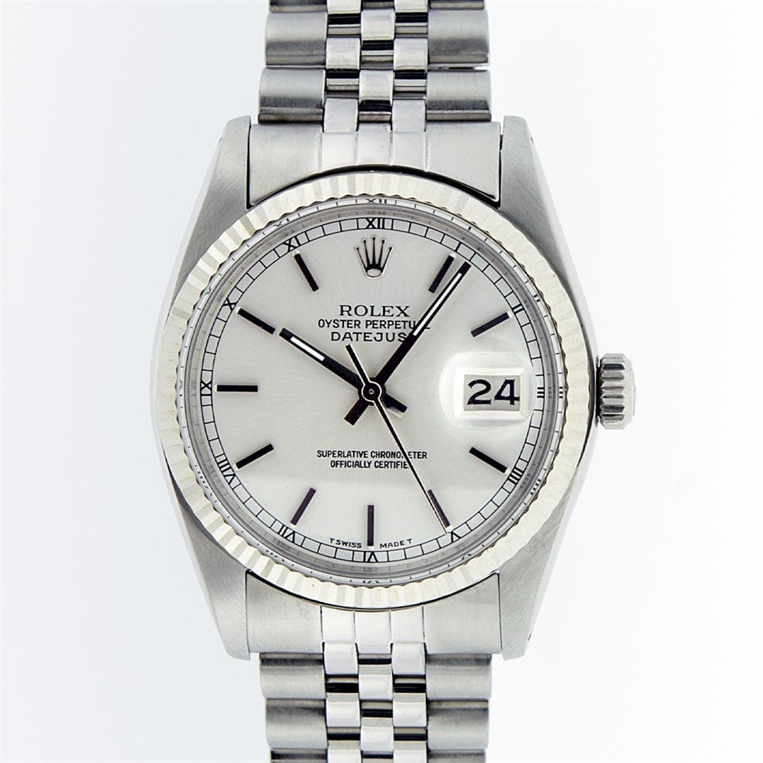 Rolex Mens Stainless Steel Silver Index and White Gold