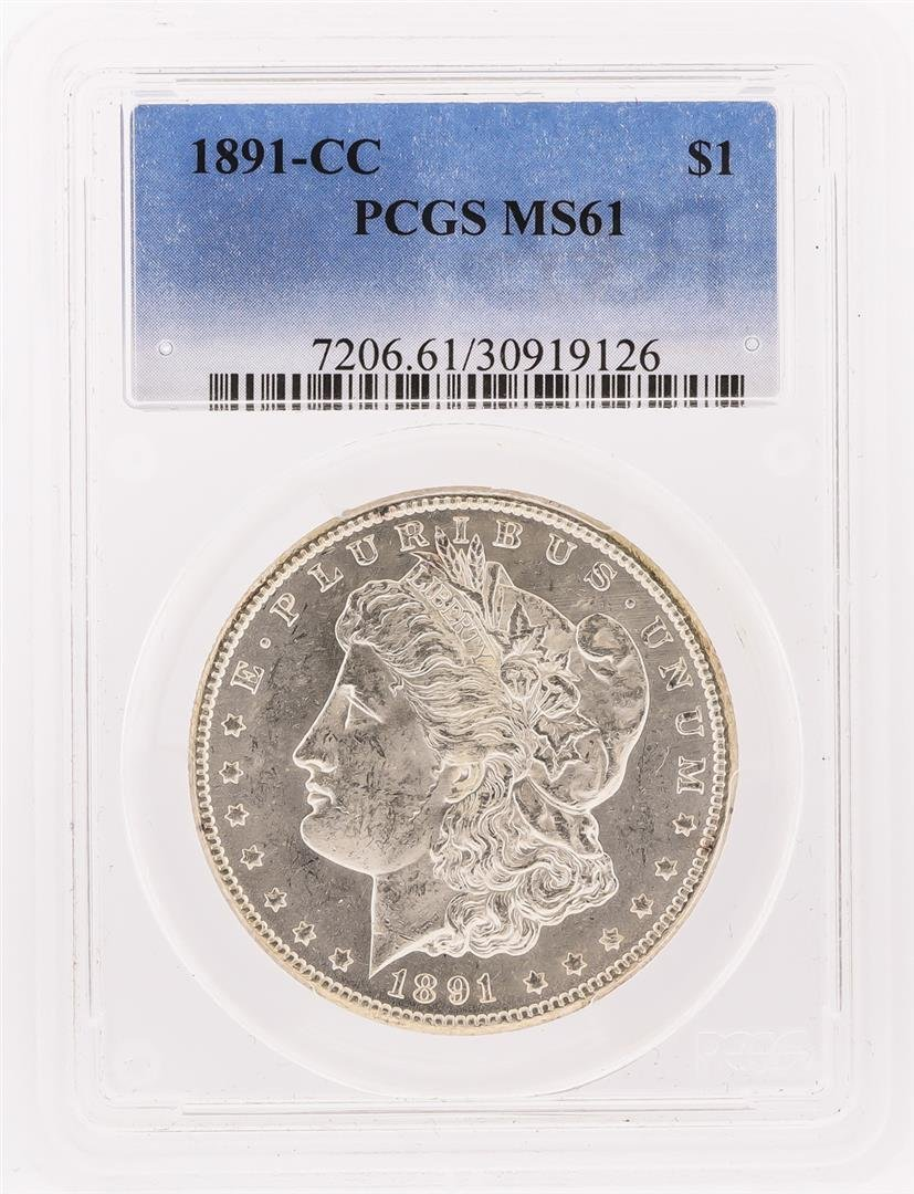 1891-CC $1 Morgan Silver Dollar Coin PCGS MS61