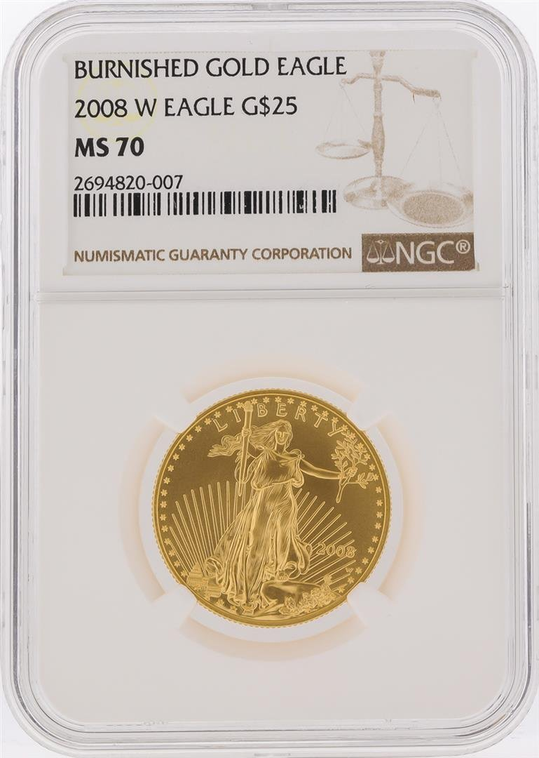 2008-W $25 Burnished American Gold Eagle Coin NGC