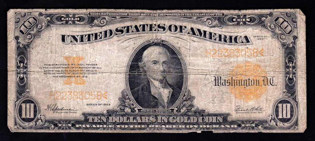 1922 $10 Large Size Gold Certificate Note