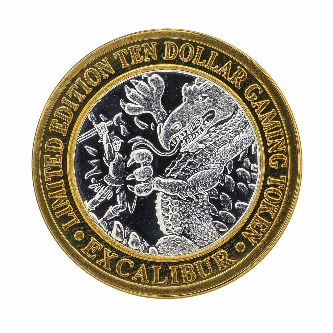 .999 Silver Excalibur $10 Casino Gaming Token Limited - 2