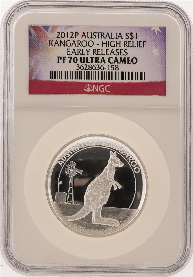 2012P $1 Australian Kangaroo Silver Coin High Relief
