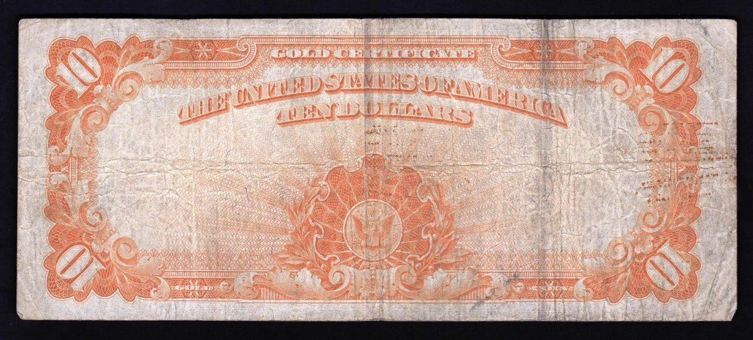 1922 $10 Large Size Gold Certificate Note - 2