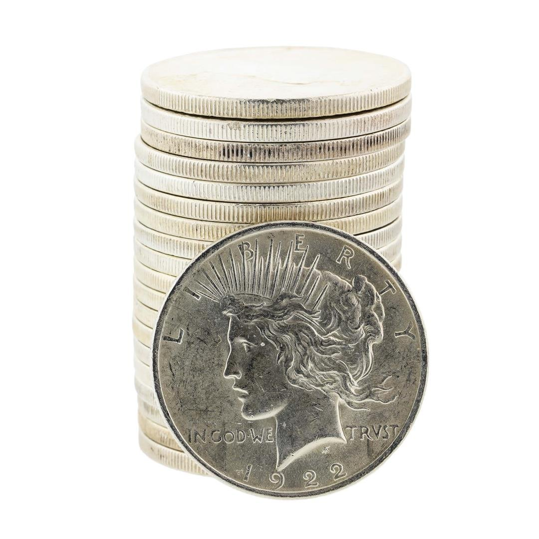 Roll of (20) 1922 $1 Peace Silver Dollar Coins