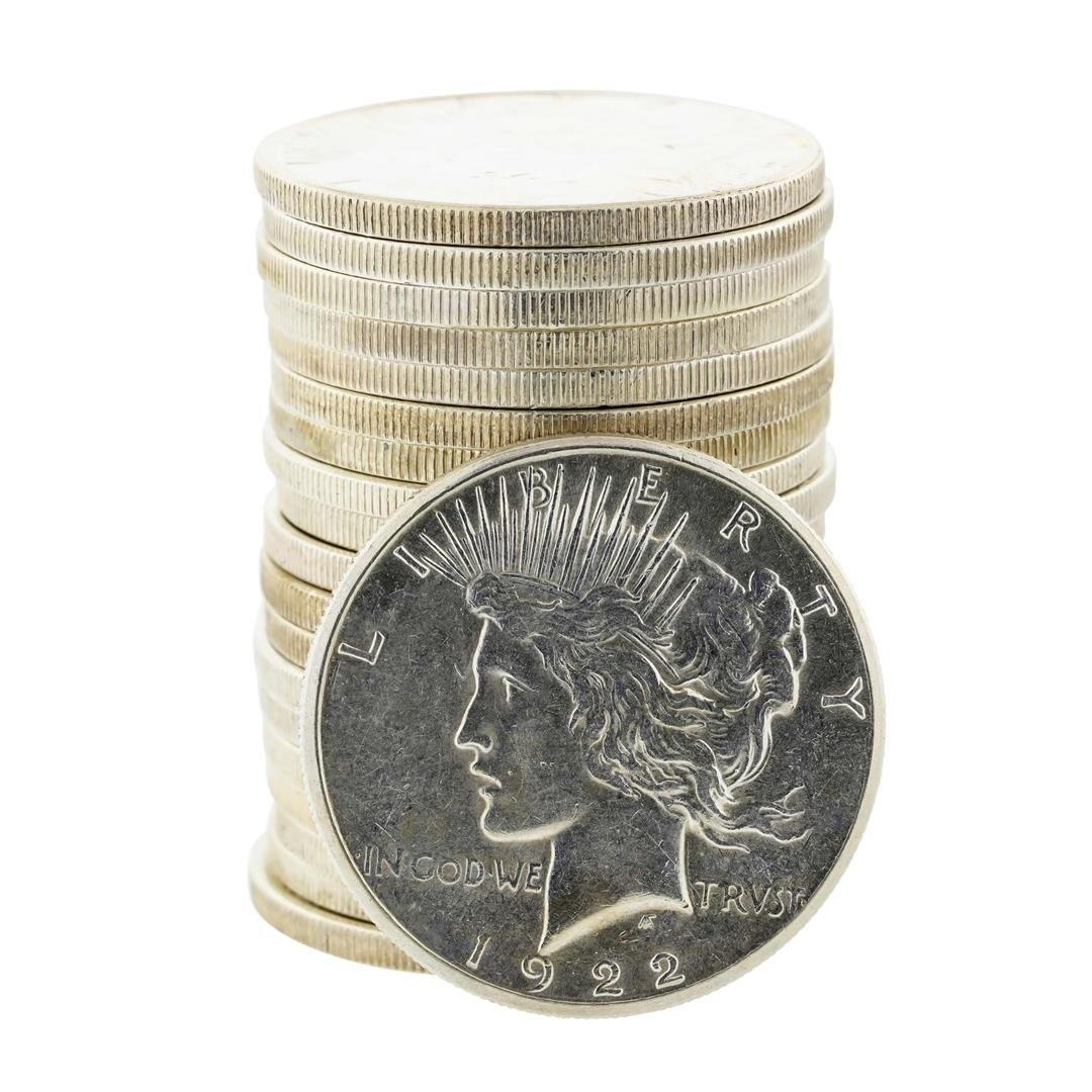 Roll of (20) 1922-23 $1 Peace Silver Dollar Coins
