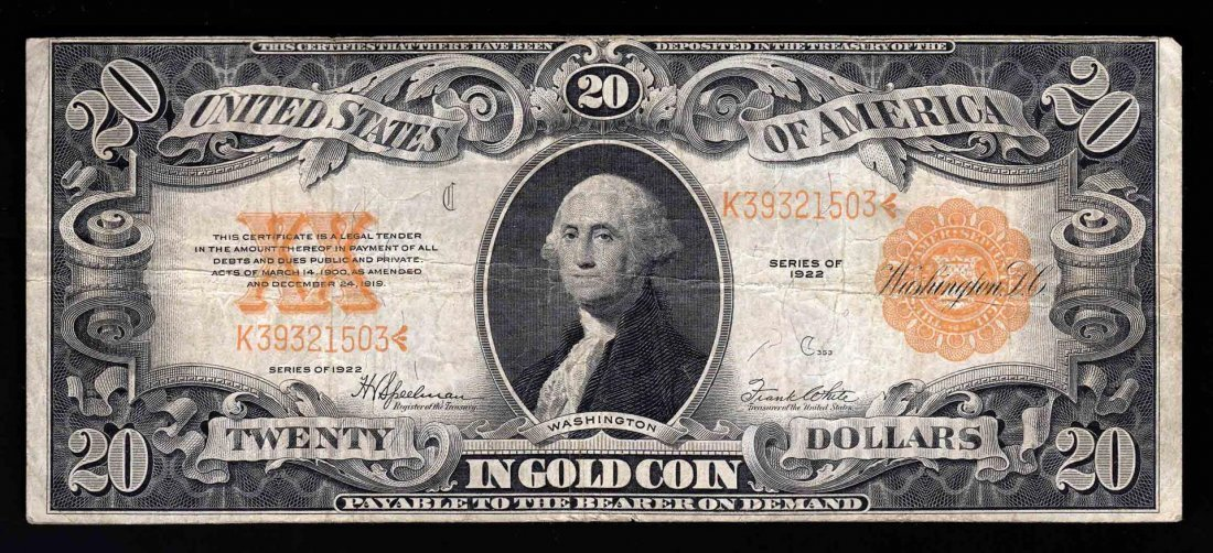 1922 $20 Large Size Gold Certificate Note- Pinhole