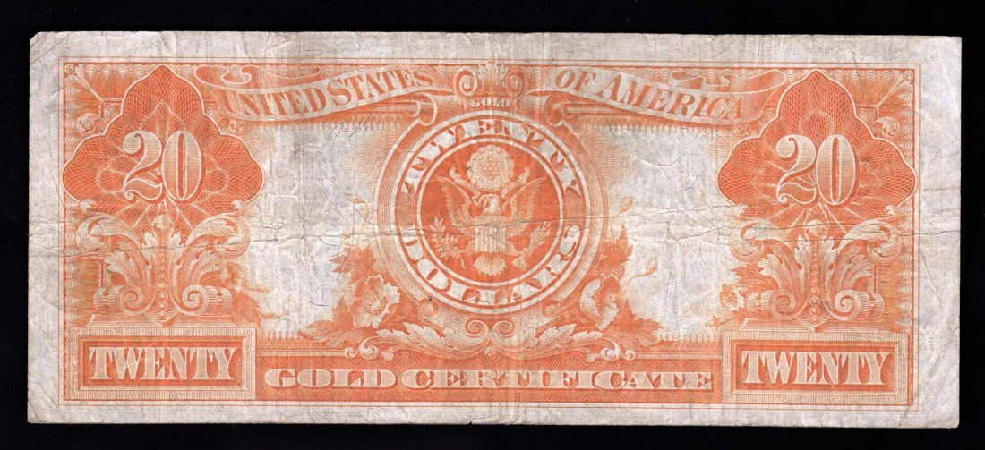 1922 $20 Large Size Gold Certificate Note- Pinhole - 2